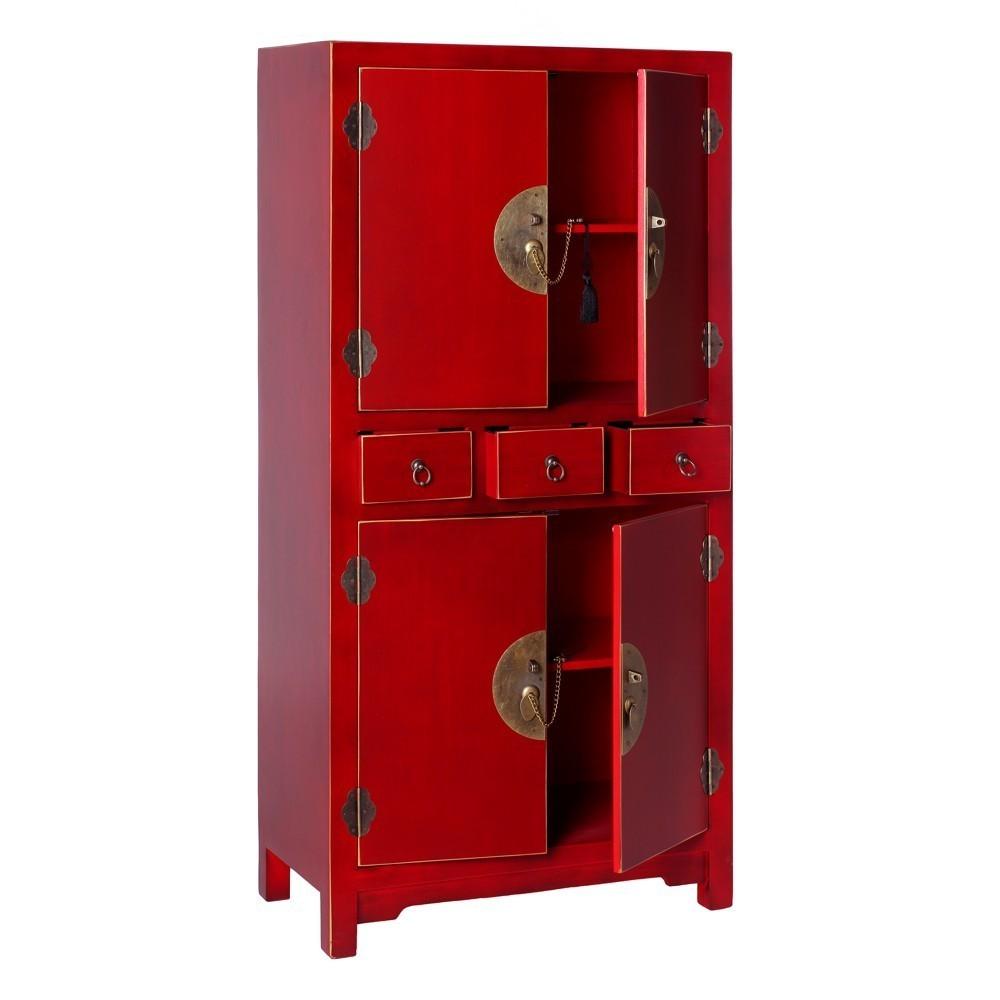 Armario oriental 3 cajones rojo te imaginas for Mueble muteki 5 2