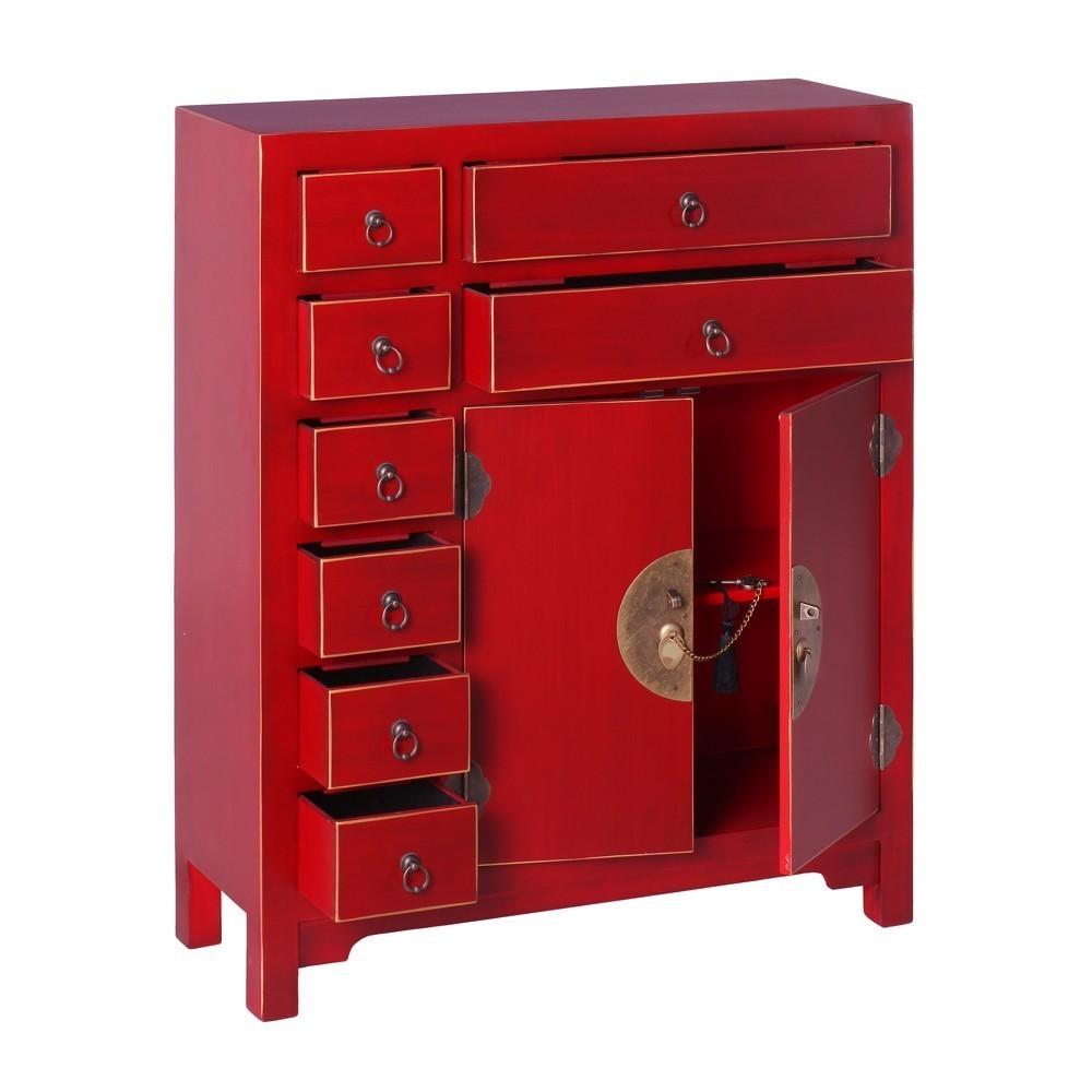 Mueble Oriental 2 Puertas 8 Cajones Rojo  Te Imaginas