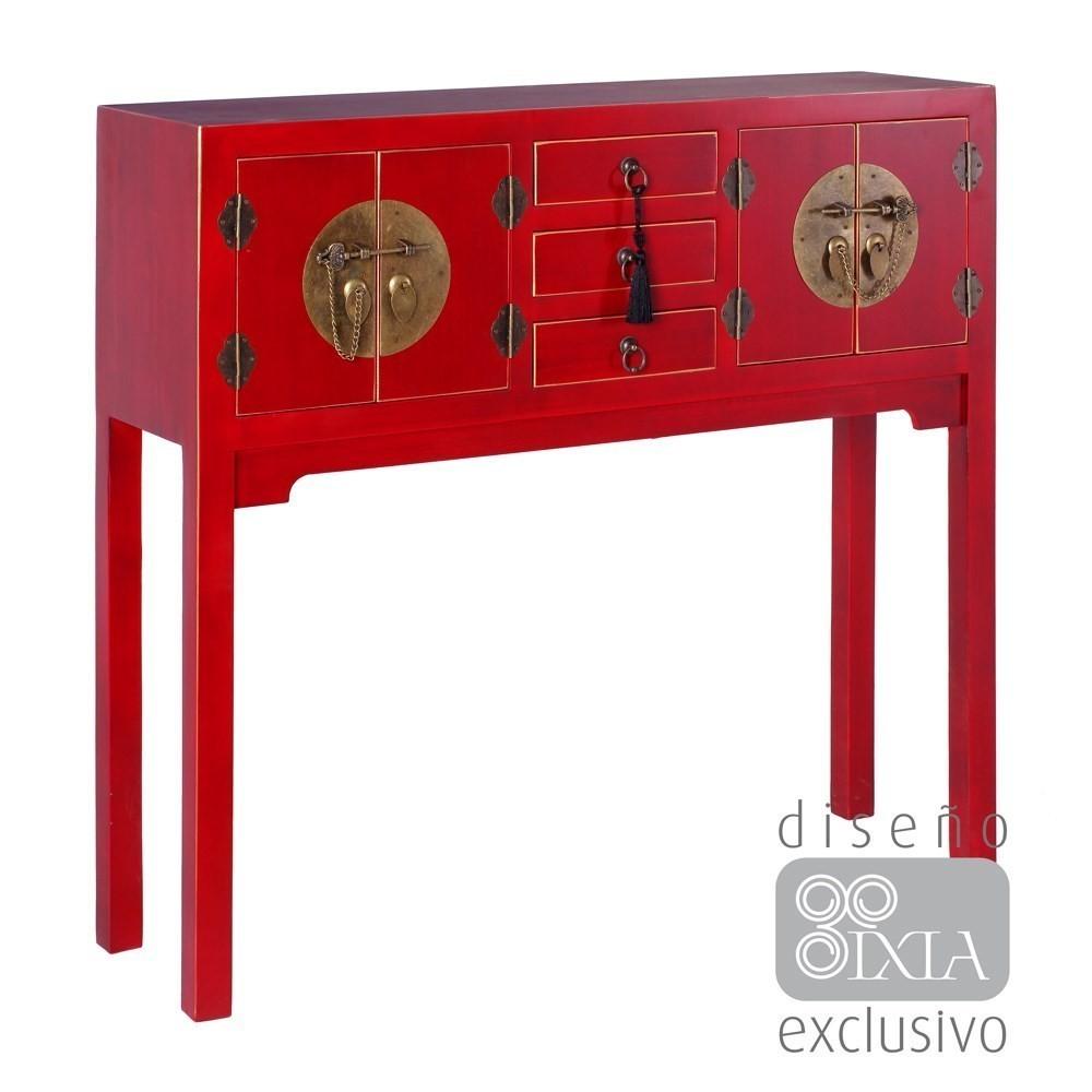 Mueble oriental 3 cajones rojo te imaginas for Muebles chinos online