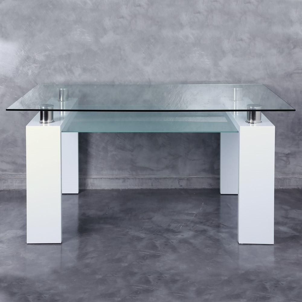 Mesa comedor blanco madera cristal te imaginas for Mesa comedor madera cristal