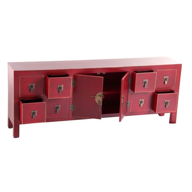 mueble tv oriental 8 cajones rojo te imaginas