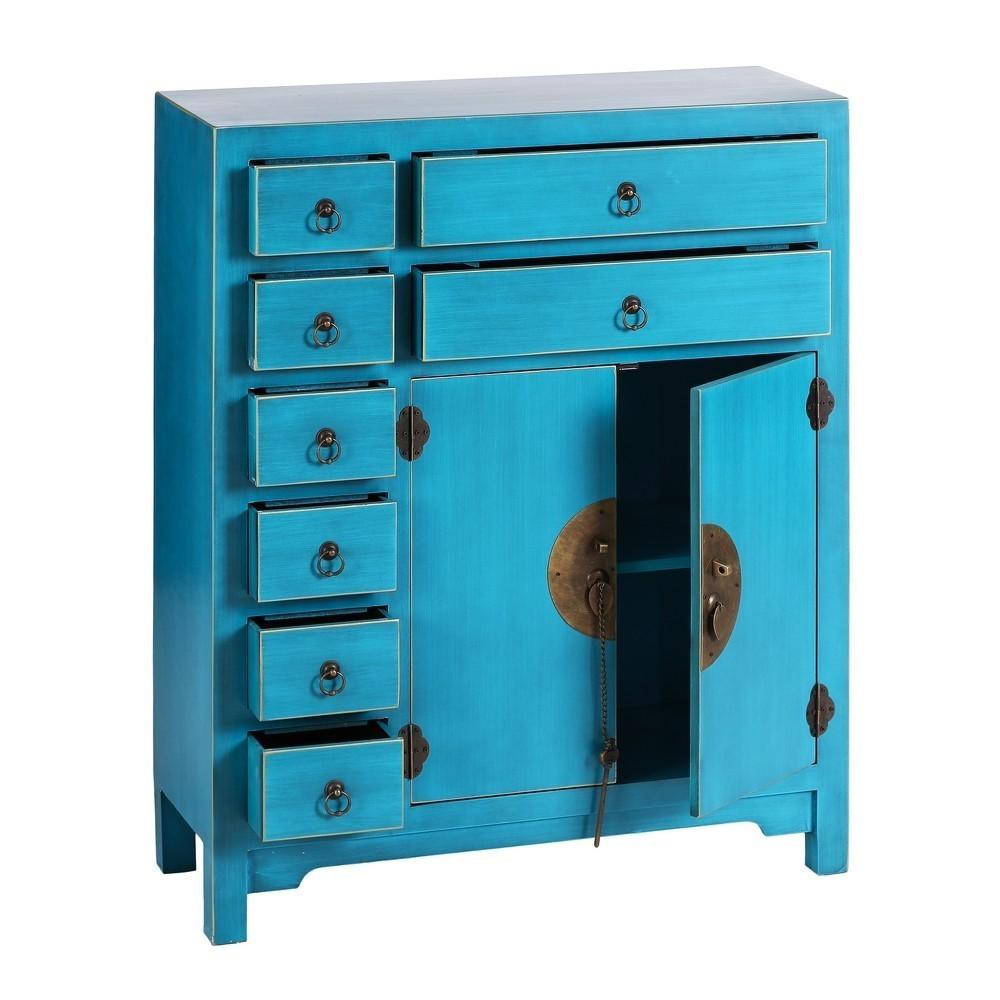Mueble oriental 2 puertas 8 cajones azul te imaginas for Mueble 6 puertas
