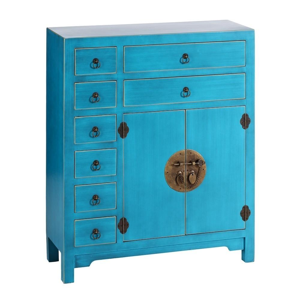 Mueble oriental 2 puertas 8 cajones azul te imaginas for Muebles chinos online