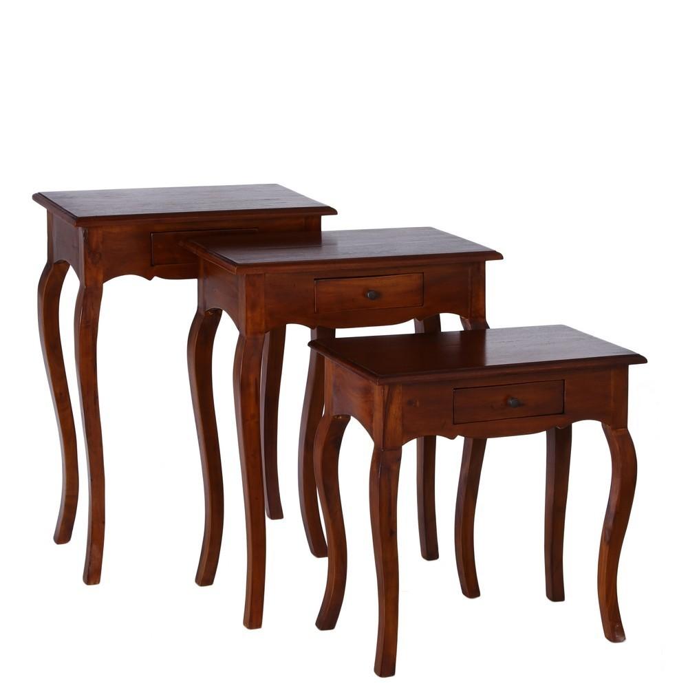 Mesas nido con 1 caj n set de 3 te imaginas - Mesas auxiliares clasicas ...