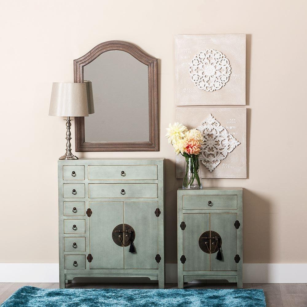 Mueble oriental 2 puertas 8 cajones azul claro te for Muebles orientales online