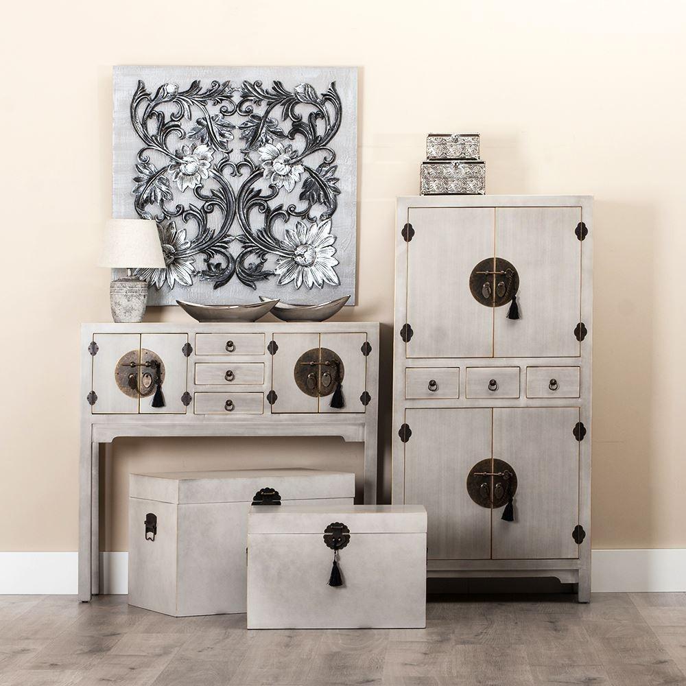 Consola 4 puertas 3 cajones gris te imaginas for Muebles chinos online