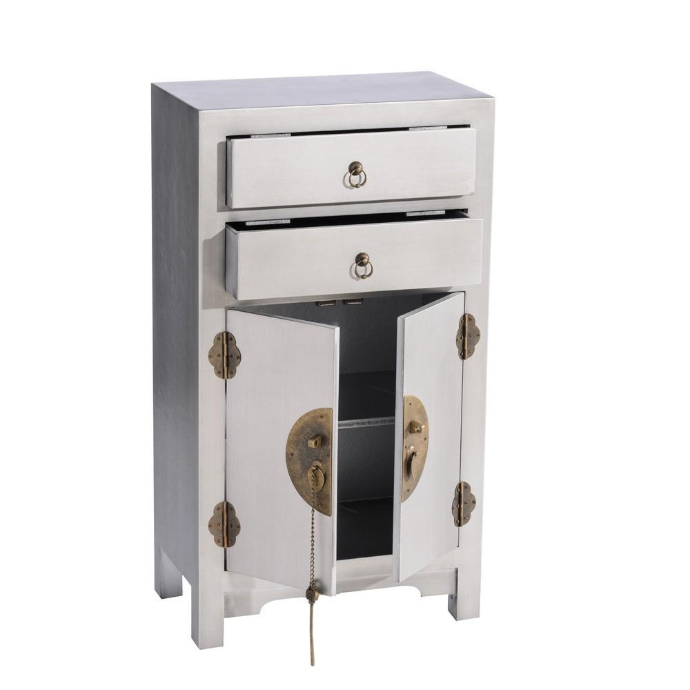 Mesilla 2 cajones 2 puertas oriental plata te imaginas for Muebles chinos outlet