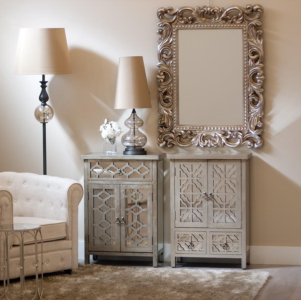Recibidor espejo plata 2 puertas 2 cajones te imaginas for Espejos originales recibidor