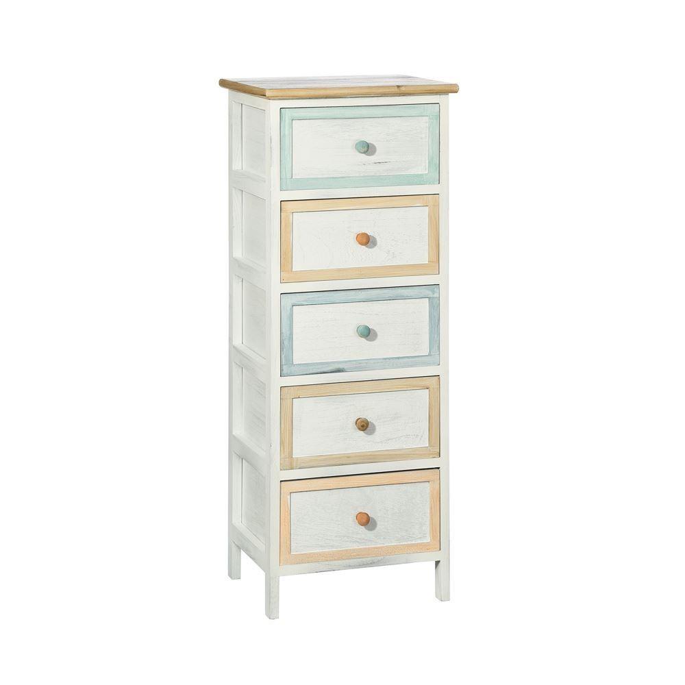 Mueble 5 Cajones Blanco Pastel Portes Gratis Te