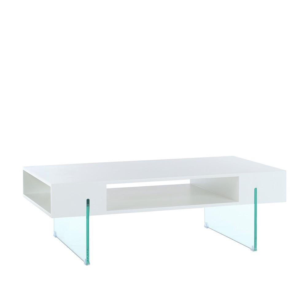 Mesa centro moderna blanca cristal te imaginas for Mesa cristal moderna