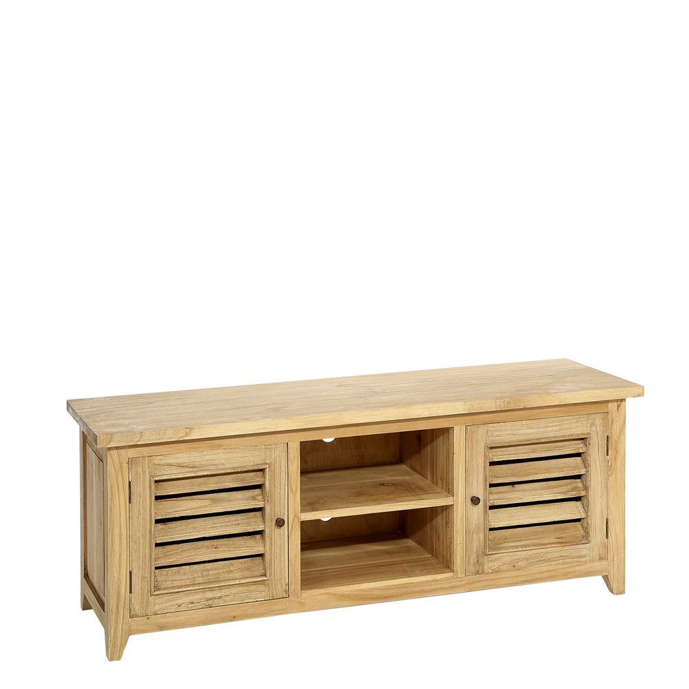 Mueble tv 2 puertas madera natural portes gratis te for Mueble 70 x 40