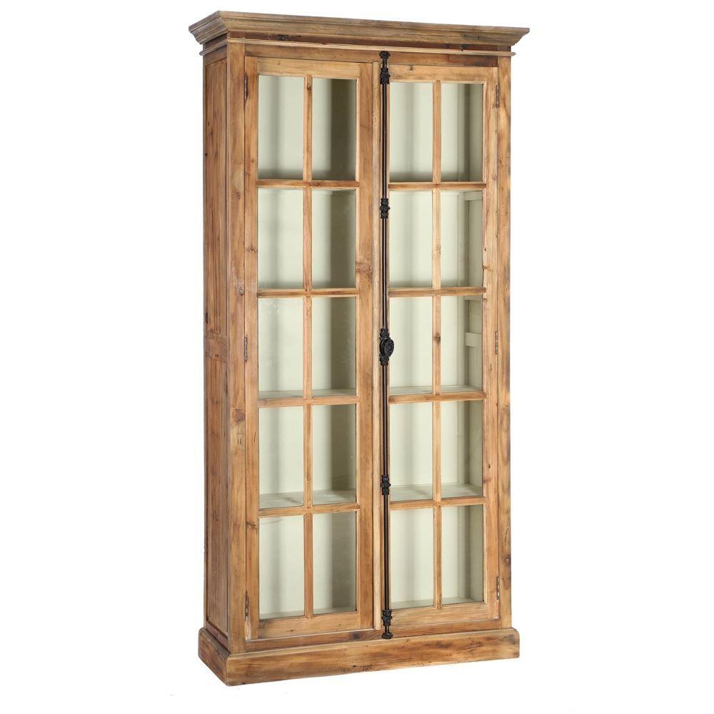 Vitrina 2 puertas madera natural portes gratis te for Puertas madera natural