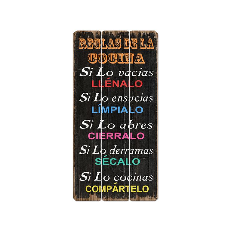 Cartel de madera reglas de la cocina te imaginas - Carteles de cocina ...