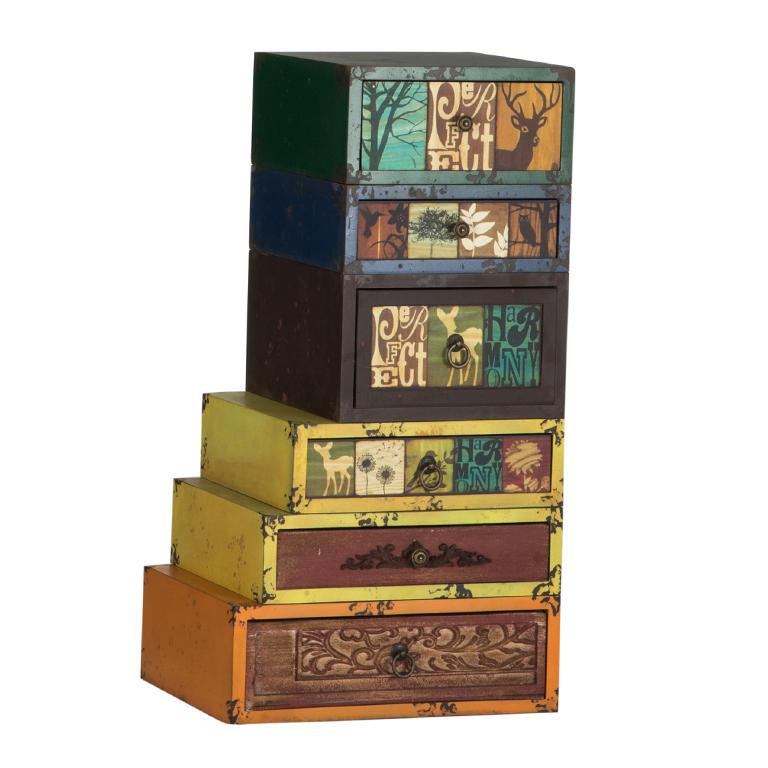 Mueble 6 cajones vintage apilable portes gratis te for Mueble muteki 5 2