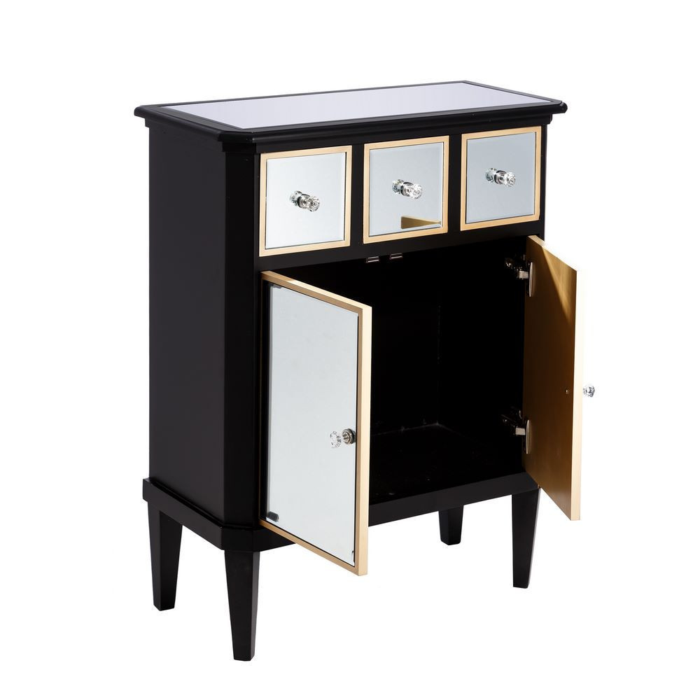 Mueble recibidor negro madera espejo portes gratis te for Mueble recibidor madera