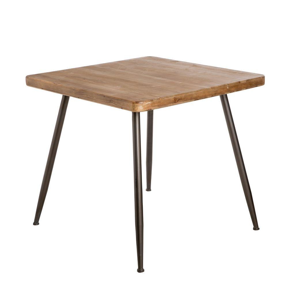 Mesa comedor madera natural metal portes gratis te for Mesa comedor madera natural