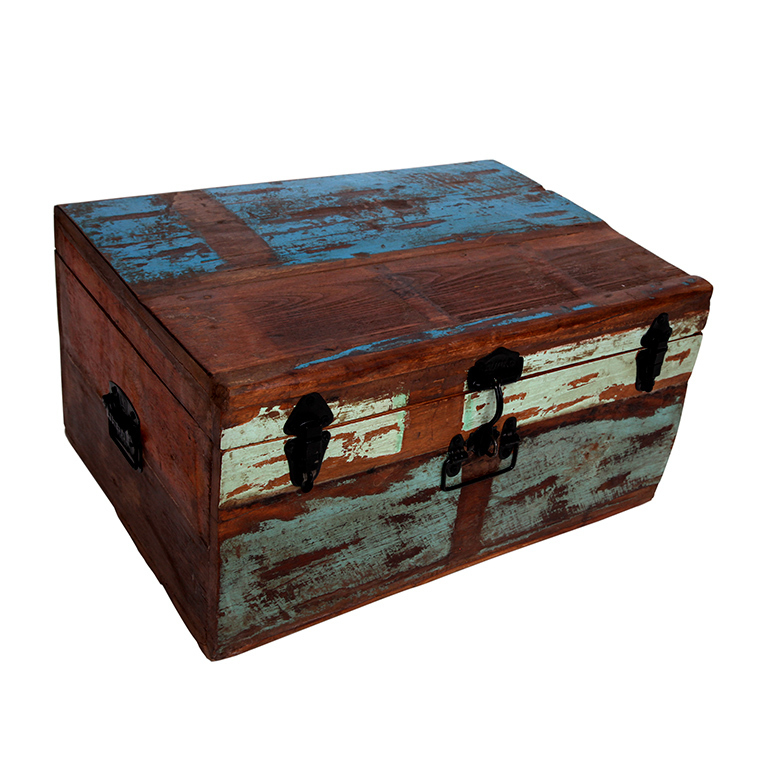 Ba l envejecido madera barato portes gratis te for Baul madera barato