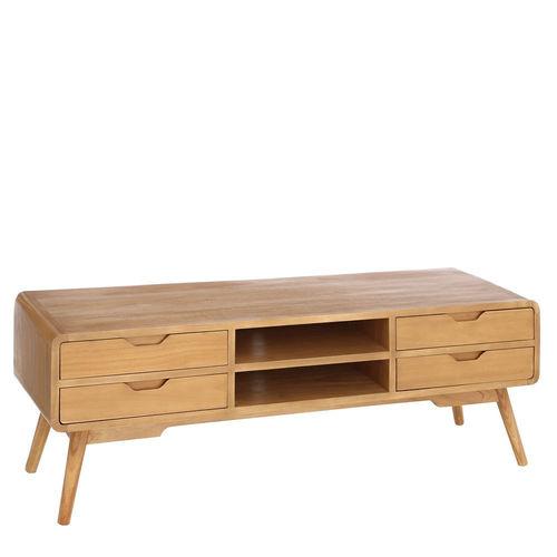 mueble tv 4 cajones madera natural