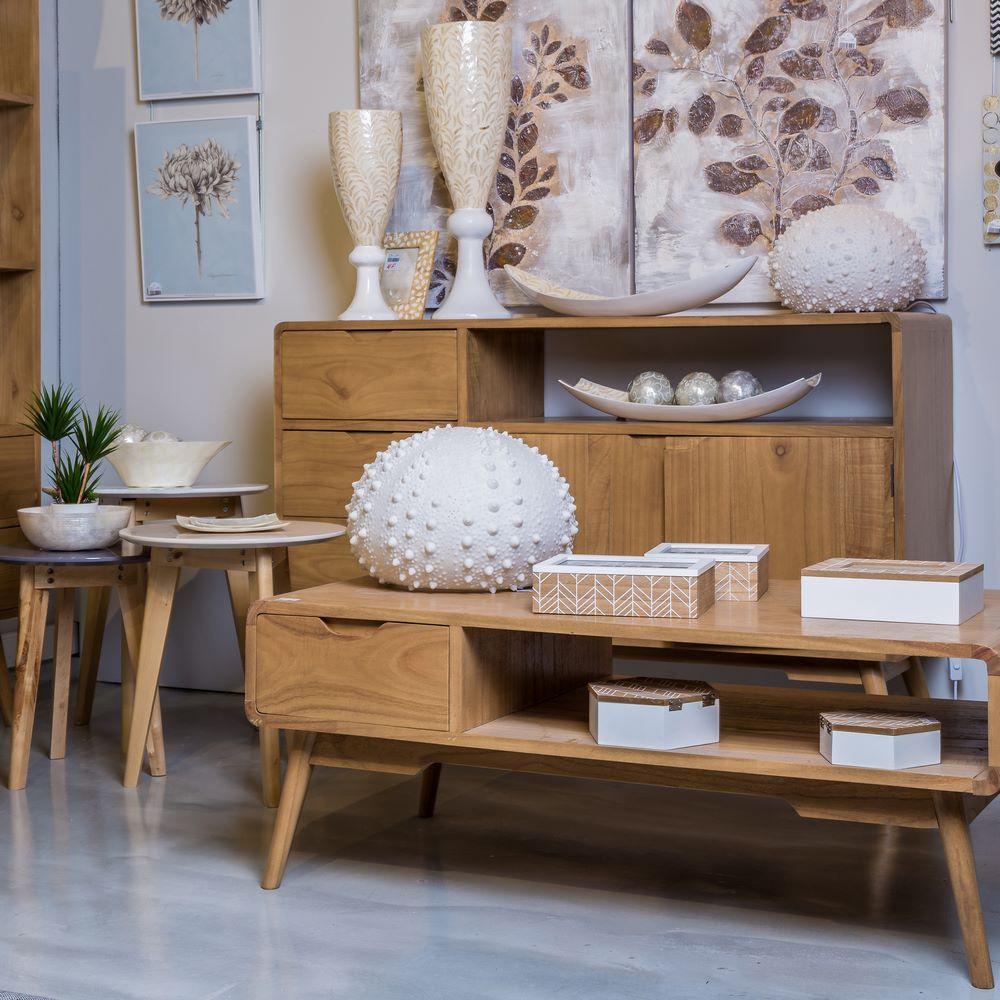Mesa centro 2 cajones madera natural portes gratis te imaginas - Muebles nordicos ...
