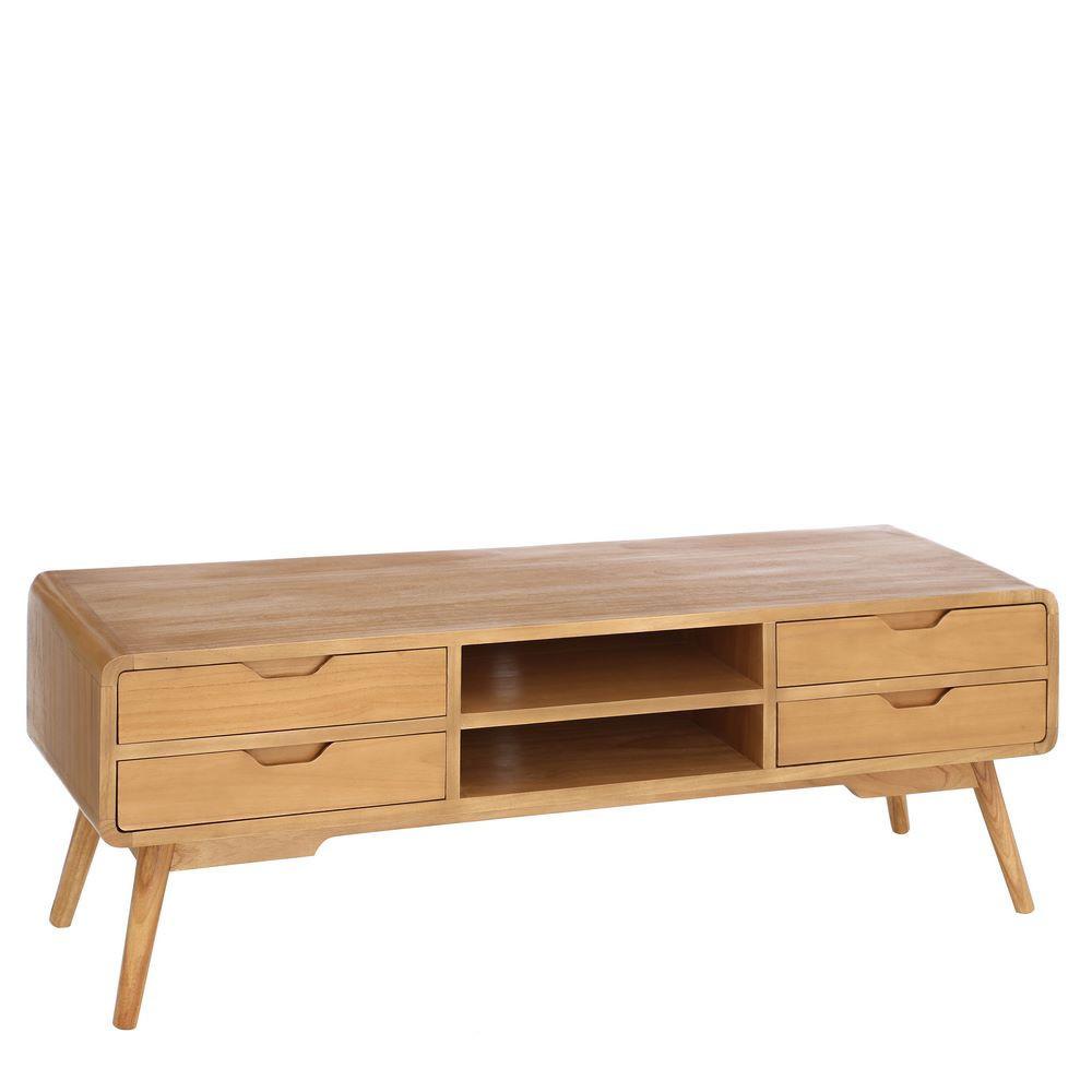 Mueble tv 4 cajones madera natural portes gratis te - Muebles madera natural ...