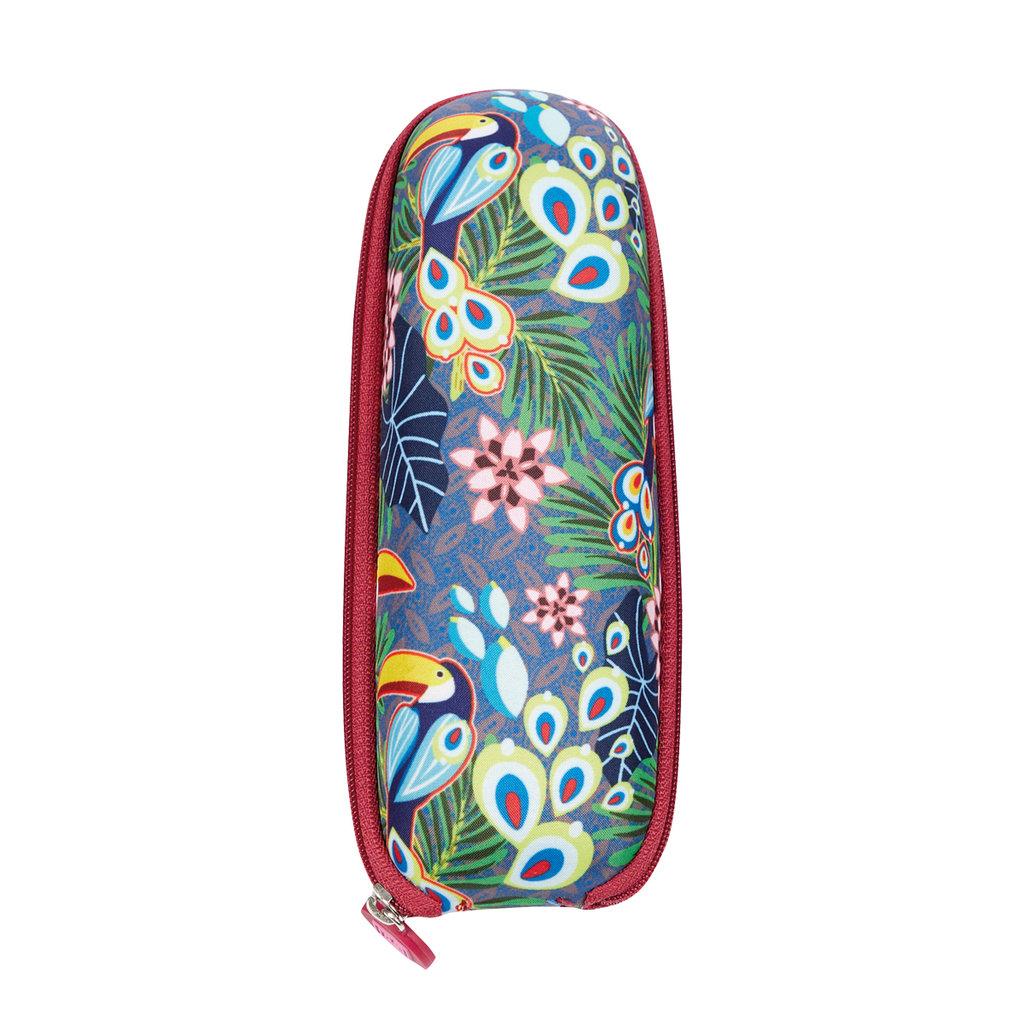 Amarillo Incluye Estuche r/ígido tama/ño Mini y Apertura Manual Tejido Estampado Flores P/ájaros Catalina Estrada for EZPELETA Paraguas Plegable antiviento de Mujer